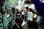 Crowded Train, subway, Railcar Interior, people, commuters, underground, June 1980, NYCTA, 1980s