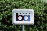 BART sign, Bay Area Rapid Transit. trees