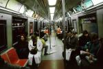 Inside a Subway Train, passengers, commuters, tired, weary, people, interior, NYCTA