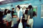 Passengers, Entering, Leaving, disembarking, Crowded, People, commuters