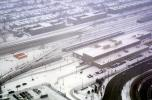 Snowy Day, Chicago-El, Elevated, Terminus, CTA, buildings, cars, railcars