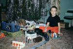 Lionel Electric Train, Boy, Tree, 1940s