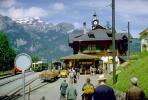 Train Station, Clock Tower, Terminal, Depot, landmark building, Wengen, Switzerland, 1950's, VRPV01P01_15.0587