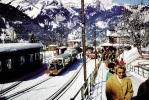 Passengers, snow, ice, cold, station, Wengen, 1950s