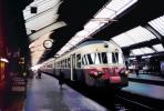 T.E.E train, Zurich, trainset, Streamlined, train station, platform, clock, 1950s