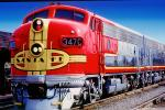 ATSF 347C, EMD F7A, Santa-Fe Diesel Electric Locomotive, AT&SF, Atchison Topeka & Santa Fe, Red/Silver Warbonnet Chief, F-Unit
