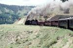D&RGW locomotive 487, (Narrow Gauge), 2-8-2, passenger railcars, smoke, July 1990