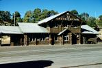 Grand Canyon Railroad Depot, Station, Log Building, Terminal, 1950s