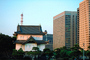 Palace, Traditional vs. Modern, highrise buildings, cityscape, skyline, Tokyo