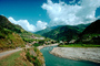 Village, River, Mountains, clouds, Araniko Highway, CANV01P08_02.3339