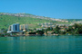 buildings, shore, shoreline, hill, skyline, harbor, docks, Tiberias, Sea of Galilee, CAZV01P14_06.3341