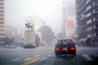statue, smog, Cars, automobile, vehicles, statuary, landmark, Buenos Aires, Dystopia
