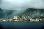 Docks, harbor, hillside, homes, waterfront, buildings, hills, mountains, city, La Guaira, Maiquetia, Venezuela, CBVV01P03_19