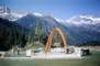 Trans-Canada Highway Monument, Rogers Pass, Monument Arches, tripod, mountains, CCBV01P09_13