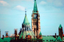 Peace Tower, clock, cone, Canadian Parliament, Government Building, landmark