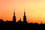 Cathedral, steeple, sunset, dusk