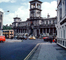Cars, Doubledecker Bus, building, roundabout, 1950's