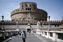 Castel St. Angelo, Castle of the Holy Angel, Mausoleum of Hadrian, cylindrical building, bridge, CEIV08P02_05