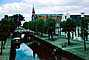 Canal, Waterway, Boat, Road, Trees, Spire, 1950's