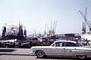 1959 Cadillac, Car, automobile, vehicle, Docks, Cranes, Harbor, Rotterdam, September 1959, 1950's, CENV01P08_15