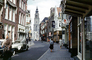 Tower, Volkswagen Beetle, sidewalk, street, buildings, shops, stores, Groningen, September 1959, 1950's, CENV01P10_04