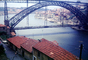 Douro River, Dom Luis I Bridge, double-decked metal arch bridge, red roofs, buildings, Porto, CEPV01P09_08