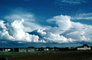 Cumulonimbus Clouds, village, buildings, houses, Fada-Ngourma, Gourma province