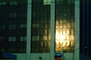 Sunset reflection, glass, building, chevron, CLAV01P02_11
