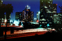 Interstate I-10 freeway, buildings, Union Bank Office Building, cityscape, tower, Bonaventure Hotel, night, nighttime, evening, CLAV02P01_18