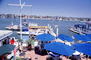 Parasol, outdoor cafe, Docks, Harbor, boardwalk, boats, Balboa, CLAV06P03_16