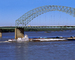 Pushertug American Heritage, Barges, Towboat, Hernando Desoto Bridge, Interstate Highway I-40, CMTV01P02_09B
