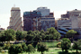 skyline, buildings, trees, park