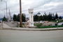 Mile 1523 Alaska Highway, Chena River, Immaculate Conception steeple, Fairbanks, 1950's, CNAV01P13_01
