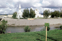 Chena River, Immaculate Conception Church, steeple, cross, building, Roman Catholic Church, River, Buildings, Keep off Grass, Fairbanks, CNAV01P15_17
