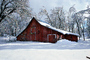snow, tree, Ice, Cold, Frozen, Icy, Winter, red barn, Mariposa County, CNCV02P12_19