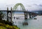 Yaquina Bay Bridge, Newport, US Highway 101, Lincoln County, Oregon, Steel through arch bridge, Landmark, CNOV01P01_01