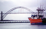 Yaquina Bay Bridge, Newport, US Highway 101, Lincoln County, Oregon, Steel through arch bridge, Landmark, CNOV02P06_12