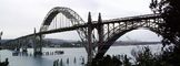 Yaquina Bay Bridge, Newport, US Highway 101, Lincoln County, Oregon, Steel through arch bridge, Landmark, Panorama, CNOV02P06_18B