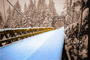 Snow, Cold, Ice, Cool, Frozen, Icy, Winter, Bucolic, Rural, peaceful, Old Wooden Bridge, Nisqually River wooden Suspension Bridge, Longmire village, Mount Rainier National Park, Equanimity, CNTPCD0654_116B