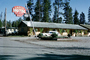 Lazy-G Motel, Station Wagon, Log Cabins, West Yellowstone, Montana, AAA, August 1965, 1960's