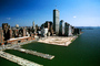 Docks, Piers, buildings, downtown Manhattan, skyscrapers, cityscape, CNYV02P03_01