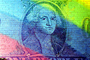 Rainbow Colors, George Washington, Dollar Bill, Money, brick, painting, portrait, Manhattan