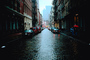 Cobblestone, rain, rainy, autumn, Cityscape, buildings, cars, umbrella, CNYV06P07_14.0897