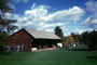 Red Barn, Wagon Wheels, Lawn, Grass, Clouds, COEV01P13_19