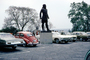 Indian Statue, car, automobile, vehicle, Volkswagen, Parked Cars, February 1972, 1970's, COEV02P08_07