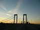 Delaware Memorial Bridge, 8 lanes of Interstate I-295 and US-40, steel suspension bridge, COJD01_114