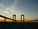 Delaware Memorial Bridge, 8 lanes of Interstate I-295 and US-40, steel suspension bridge, COJD01_118