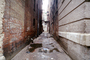 alley, alleyway, urban decay, puddle