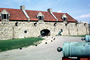 Cannon, cannonballs, roof, chimney, Fort Ticonderoga, Artillery, gun, COPV01P09_16