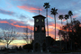 Clock Tower, sunset, palm trees, CSCD02_127
